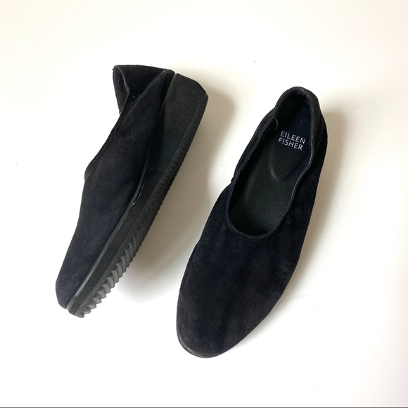 Eileen Fisher Shoes - Eileen Fisher Mellow Black Suede wedge size 7